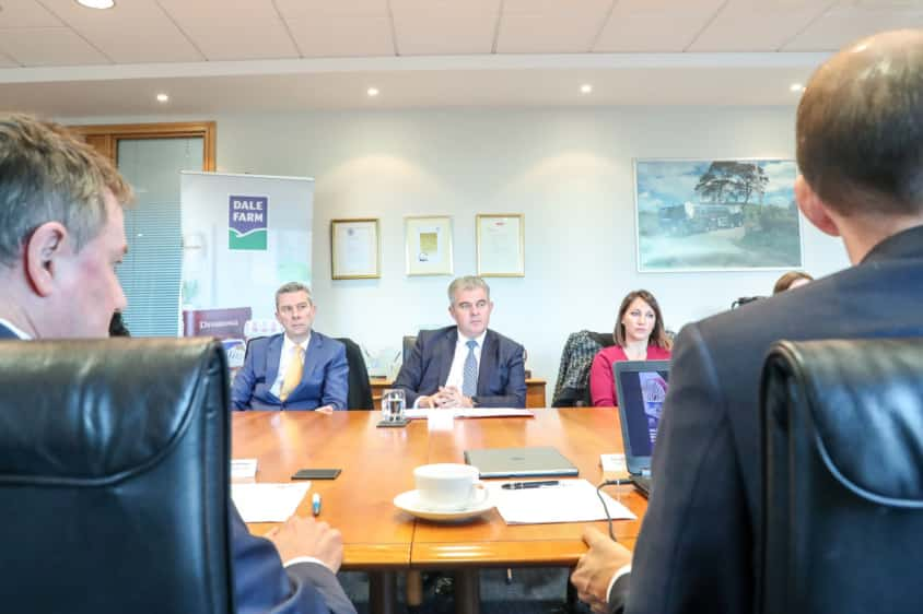Brandon Lewis, minister without portfolio and chairman of the Conservative Party, with officials and business people at an Institute of Directors event at Dale Farm on Dargan Road, Belfast, on Friday December 7 2018
