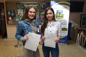 Joining in the results day celebrations at Larne High School.