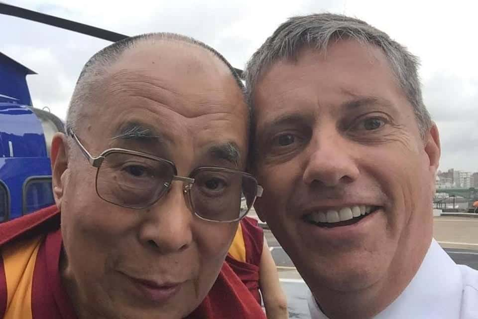 Undated picture of the Dalai Lama (right) with Eric Swaffer who died when the helicopter that he was piloting crashed just yards from Leiicester City Football Club Stadium on Saturday evening.