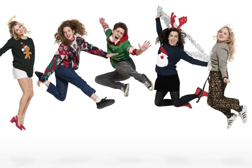 The cast of Derry Girls have swapped their school uniforms for Christmas jumpers in aid of Save the Children