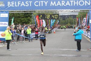 5/5/19 PACEMAKER PRESS'The Belfast Marathon leaves from Stormont and works its way through the city. Belfast marathon winner Joel Kositany crosses the line.'PICTURE MATT BOHILL PACEMAKER PRESS