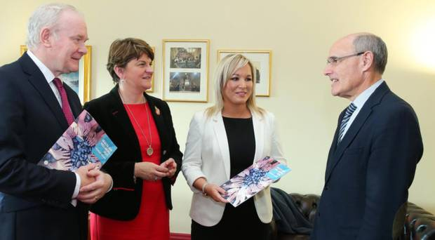 Former First Minister Arlene Foster, deputy Martin McGuinness and former Health Minister Michelle O'Neill with Professor Rafael Bengoa (right) at Stormont last year