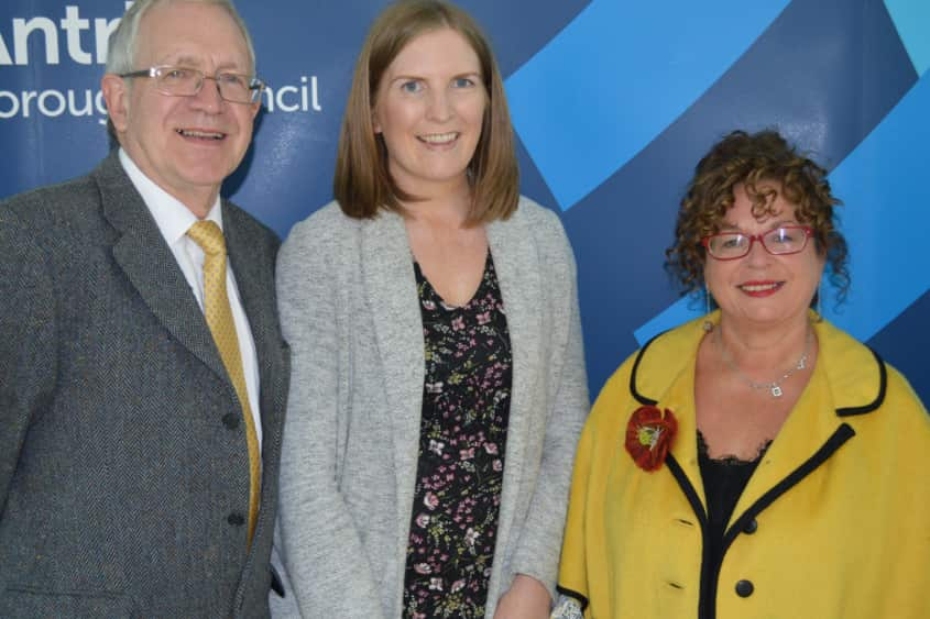 Lauren Gray (centre) with election agent Philip Burnside and Mid and East Antrim councillor Gerardine Mulvenna.