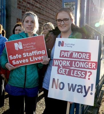 Health workers taking part in industrial action in Northern Ireland