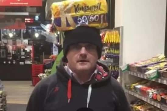 Former Sinn Fein MP Barry McElduff with his selfie of him with a loaf of Kingsmill bread on his head.