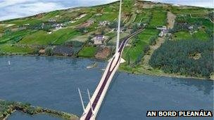 The cross-border bridge will stretch from County Down to County Louth
