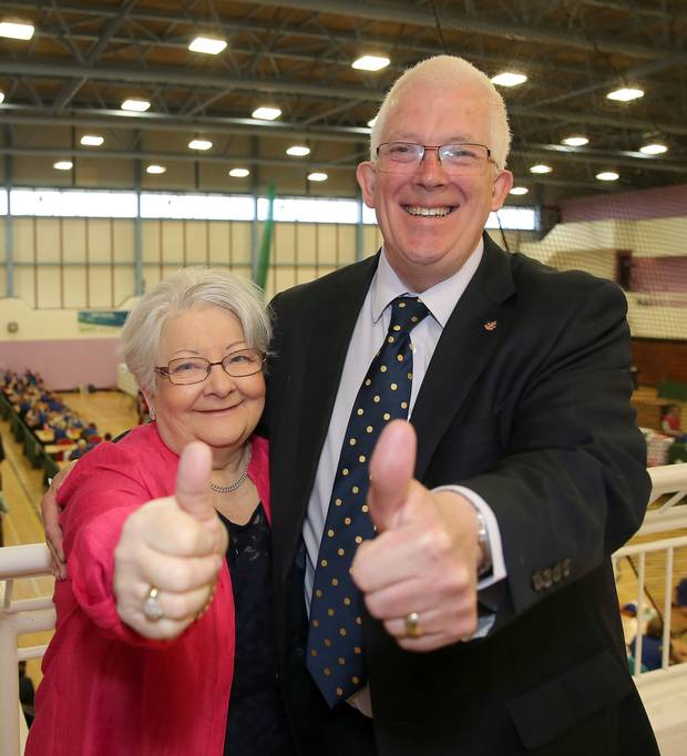 Stewart Dickson of Alliance celebrates with wife Sandra
