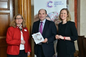 Roy pictured with Margaret Carr and Amanda Boughey from Cancer Research UK