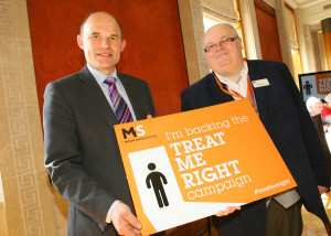 Roy Beggs MLA backing the Treat Me Right campaign with MS Society Larne Branch member Tom Hunter