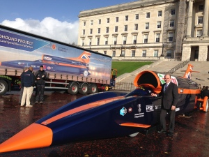 Roy Beggs MLA pictured with the Bloodhound vehicle