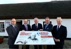 Roy Beggs MLA pictured with US Special Envoy to Northern Ireland Gary Hart and UUP Leader Mike Nesbitt at the Andrew Jackson Centre, Carrickfergus