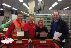 Roy Beggs MLA visited Royal Mail sorting staff in Larne