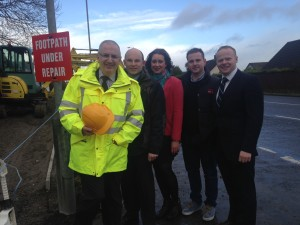 DRD Minister Danny Kennedy MLA inspecting the cycleway along with Roy Beggs MLA and Councillors Millar, Wilson & Stewart