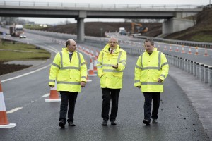 Roy Beggs MLA, Transport Minister Danny Kennedy MLA and Danny Kinahan MLA visit the Ballynure Bypass on the A8