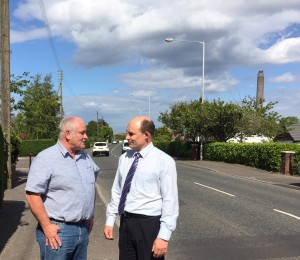 Mr Trevor Doyle (local resident) with Roy Beggs MLA on the A2 Larne Road
