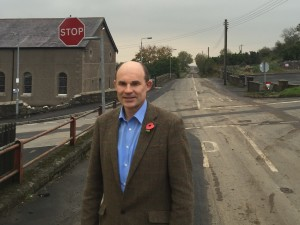 Roy Beggs at the crossroads in Raloo
