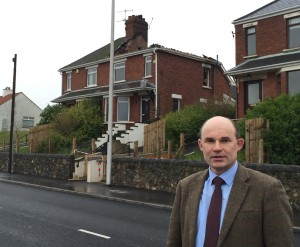 Mr Beggs at the site of the recent arson