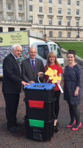 Roy Beggs MLA with representatives from Bryson House Recycling and the Children's Heartbeat Trust, at Stormont.