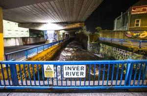 The scene at the Inver River on Tuesday night. Pic Steven McAuley/McAuley Multimedia