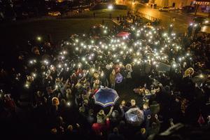Public vigil in memory of murdered Carrickfergus man Glenn Quinn at Castle Green in Carrickfergus. (Liam McBurney/RAZORPIX)