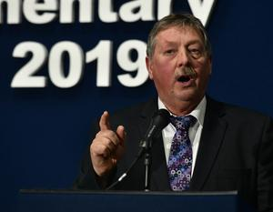 Sammy Wilson at the General Election count at the Titanic Exhibition Centre in Belfast.Pic Colm Lenaghan/Pacemaker
